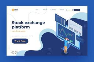 página inicial da plataforma da bolsa de valores vetor