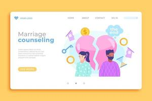 Glossy broken heart marriage counseling landing page