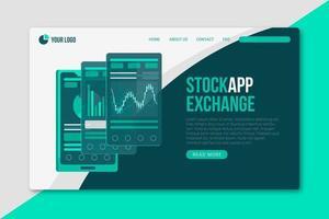 página de destino do aplicativo de bolsa de valores em tons verde vetor