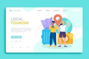 página de destino de turismo local con elementos de viaje vector