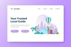 vertrauenswürdiger Führer lokale Tourismus Landing Page vektor
