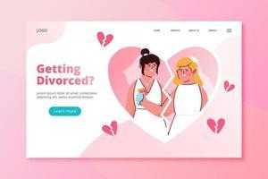pareja divorciada plantilla de página de destino vector