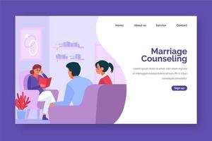 Purple toned marriage counseling homepage design