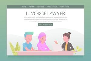 Divorce lawyer appointment landing page vector