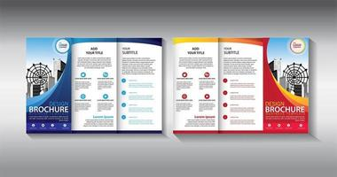 Trifold orange and blue business brochure template vector