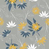 Cute elegant yellow vintage flowers pattern  vector