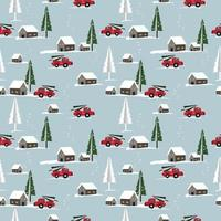 Cute town in winter theme seamless pattern