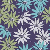 Gray green flower seamless pattern