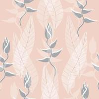 Light grey and peach color leaves and plant seamless pattern