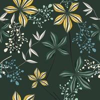 Exotic yellow and white spring floral pattern vector