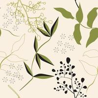 Abstract line leaves print seamless pattern  vector