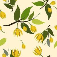 Yellow ylang-ylang flowers pattern  vector