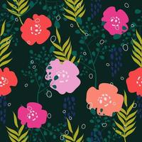 Bold color flat style flowers seamless pattern  vector