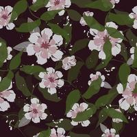 Light pink flowers and leaves on black  vector