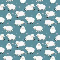 Funny sheep cartoon seamless pattern vector
