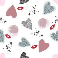 Romantic pattern with heart shapes and lips