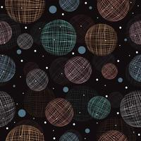 Abstract sketched floating spheres pattern vector