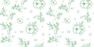 Green and white bamboo and flowers seamless pattern vector