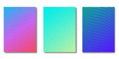 Gradient cover set with wave line patterns vector