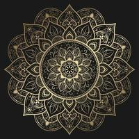 intrincado mandala de flores decorativas en oro