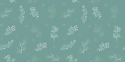 White floral seamless pattern on green