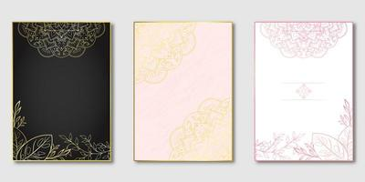 Pink and gold floral mandala cover set vector