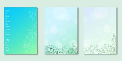 Botanical design blue gradient cover set vector