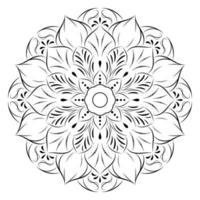 Black outline flower mandala on white vector