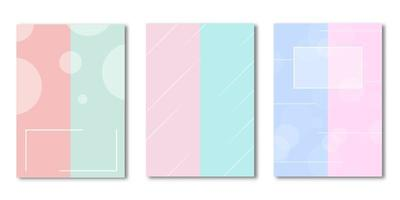 White geometric shapes on dual color cover set vector