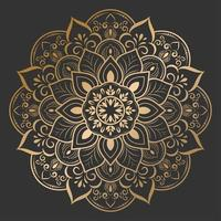 hermosa flor dorada mandala en negro