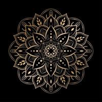 Luxury rounded flower mandala design on black vector