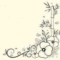 Flower frame border on vintage texture vector