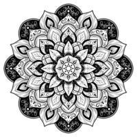 Decorative black and white floral mandala