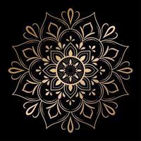 Golden outline floral mandala, vector