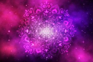 mandala del fiore sulla galassia sfumata viola