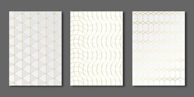 Gold rectangle and geometric lines on white cover set vector