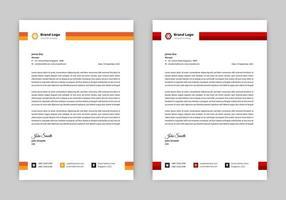 design de papel timbrado vermelho e laranja