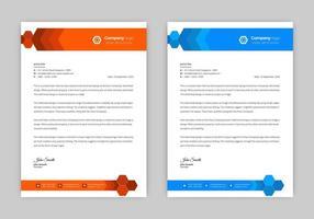 Orange and blue hexagon header letterhead set vector