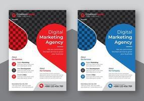 blauwe en rode ronde transparante vorm flyer set