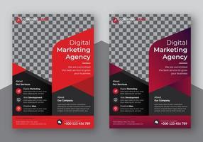 conjunto de panfleto de negócios de cor vermelha