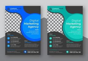 Flyer-Set mit blauem und blaugrünem kreisförmigem Design