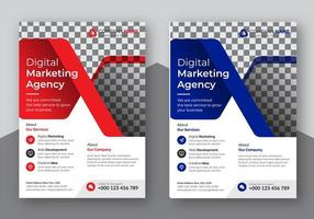 Red and Blue Corporate Business Flyers vector