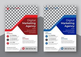 conjunto de detalhes vermelho e azul de folhetos de negócios