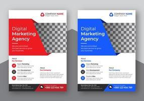 conjunto de panfleto corporativo em ângulo vermelho e azul
