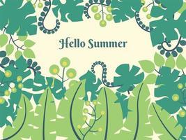 Hello Summer tropical leaf design vector