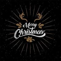 Gold and white distressed Merry Christmas calligraphy poster vector
