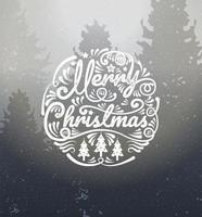 Merry Christmas calligraphy on winter landscape vector