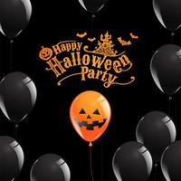 Happy Halloween Party poster with glossy balloons