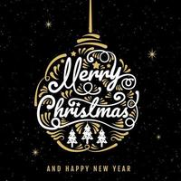 Merry Christmas ornament calligraphy and stars poster vector