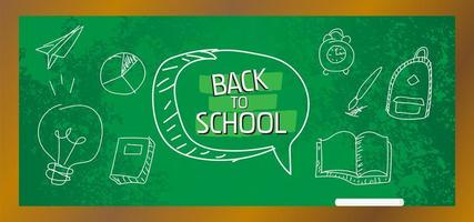 Doodle estilo pizarra de regreso al cartel de la escuela